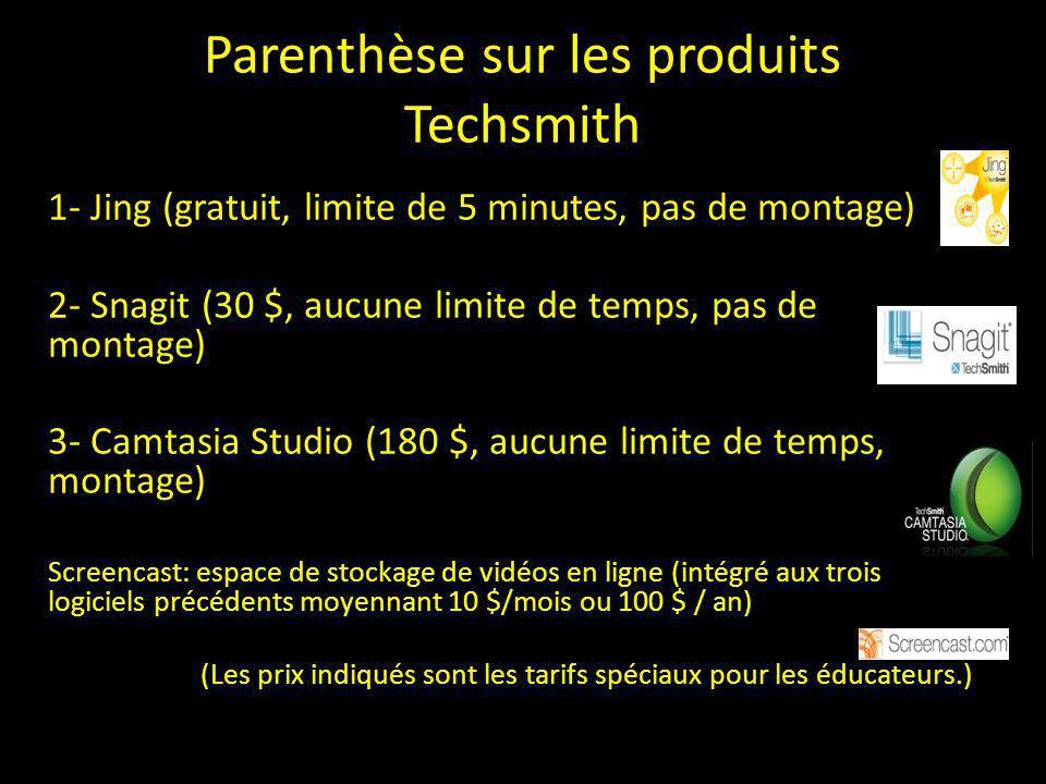 Parenthèse sur les produits Techsmith 1- Jing (gratuit, limite de 5 minutes, pas de montage) 2- Snagit (30 $, aucune limite de temps, pas de montage)