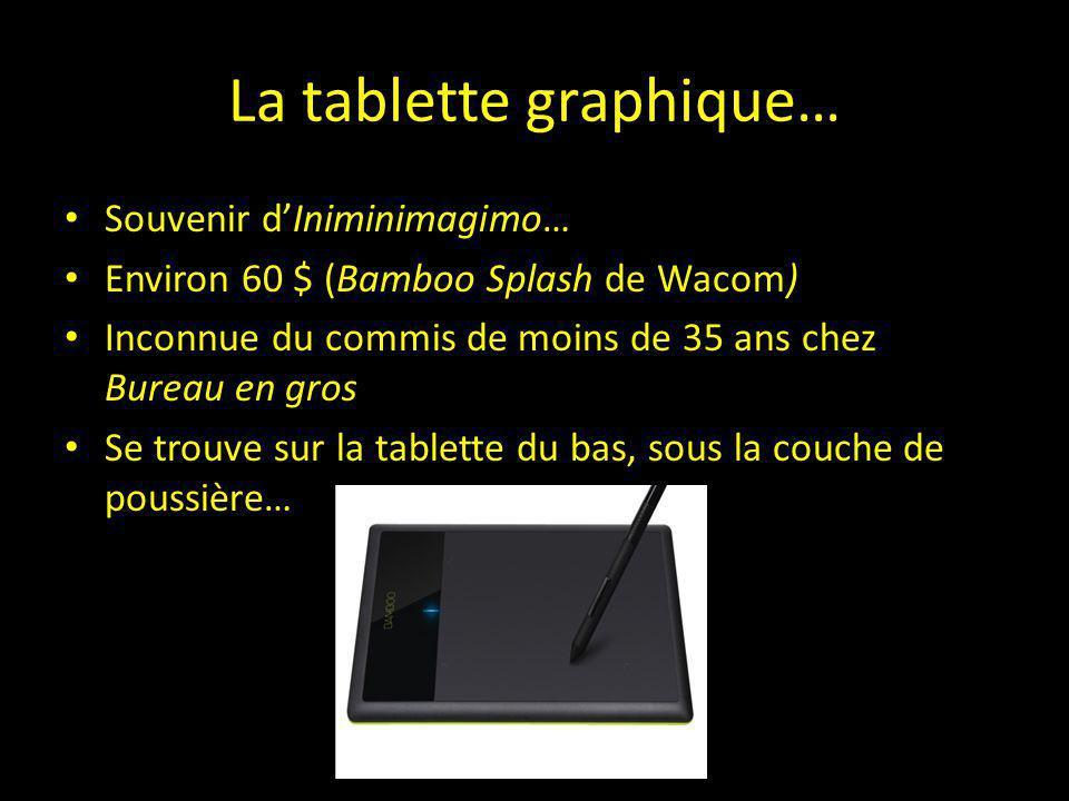 La tablette graphique… Souvenir d'Iniminimagimo… Environ 60 $ (Bamboo Splash de Wacom) Inconnue du commis de moins de 35 ans chez Bureau en gros Se tr