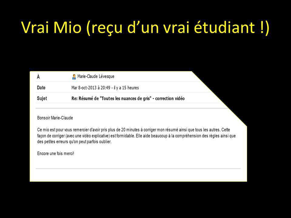 Vrai Mio (reçu d'un vrai étudiant !)