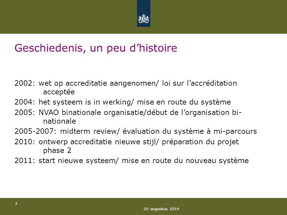 20 augustus 2014 3 Geschiedenis, un peu d'histoire 2002: wet op accreditatie aangenomen/ loi sur l'accréditation acceptée 2004: het systeem is in werk