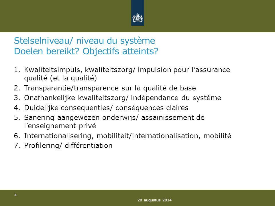 Stelselniveau/ niveau du système Doelen bereikt? Objectifs atteints? 1.Kwaliteitsimpuls, kwaliteitszorg/ impulsion pour l'assurance qualité (et la qua