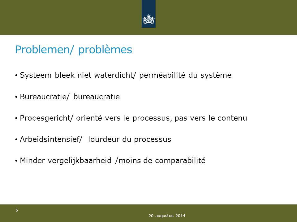 Problemen/ problèmes Systeem bleek niet waterdicht/ perméabilité du système Bureaucratie/ bureaucratie Procesgericht/ orienté vers le processus, pas v