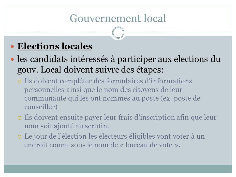 Gouvernement local Elections locales les candidats intéressés à participer aux elections du gouv.