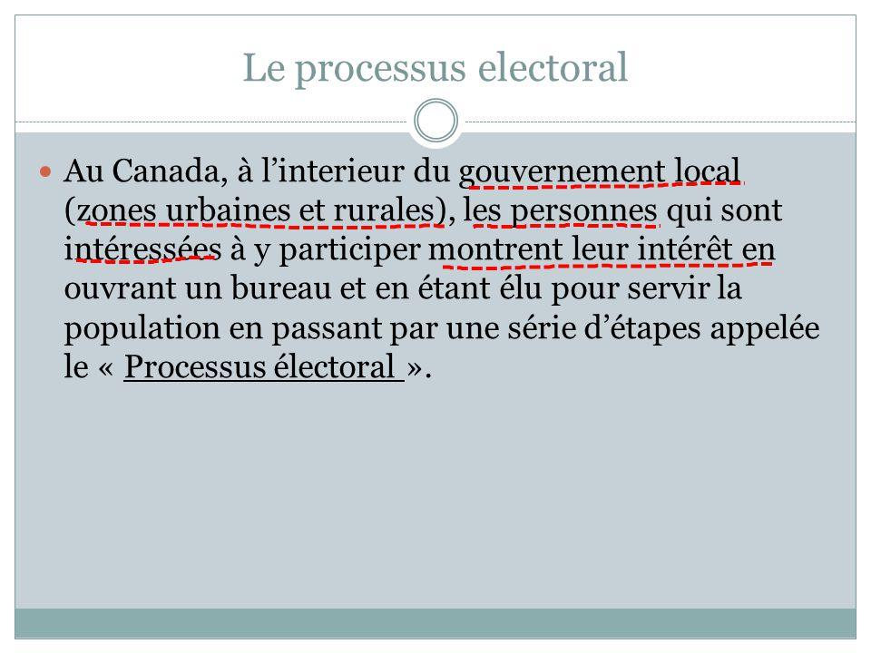 Le processus electoral Au Canada, à l'interieur du gouvernement local (zones urbaines et rurales), les personnes qui sont intéressées à y participer montrent leur intérêt en ouvrant un bureau et en étant élu pour servir la population en passant par une série d'étapes appelée le « Processus électoral ».