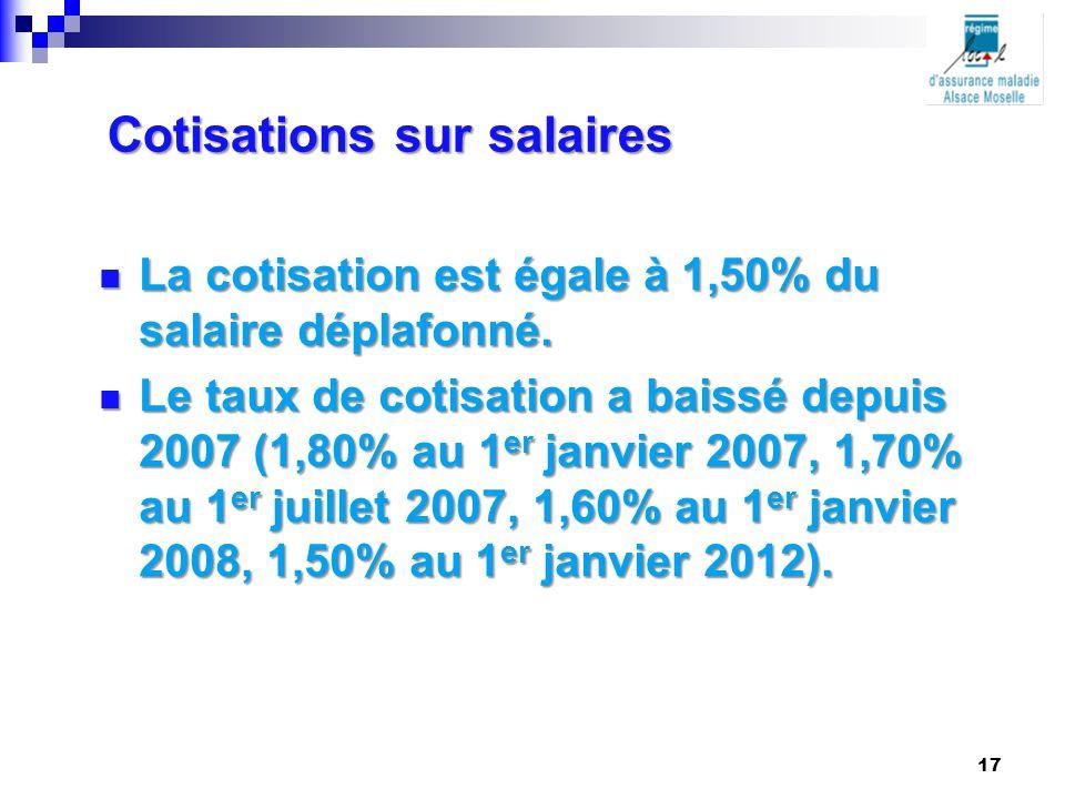 Cotisations sur salaires La cotisation est égale à 1,50% du salaire déplafonné. La cotisation est égale à 1,50% du salaire déplafonné. Le taux de coti