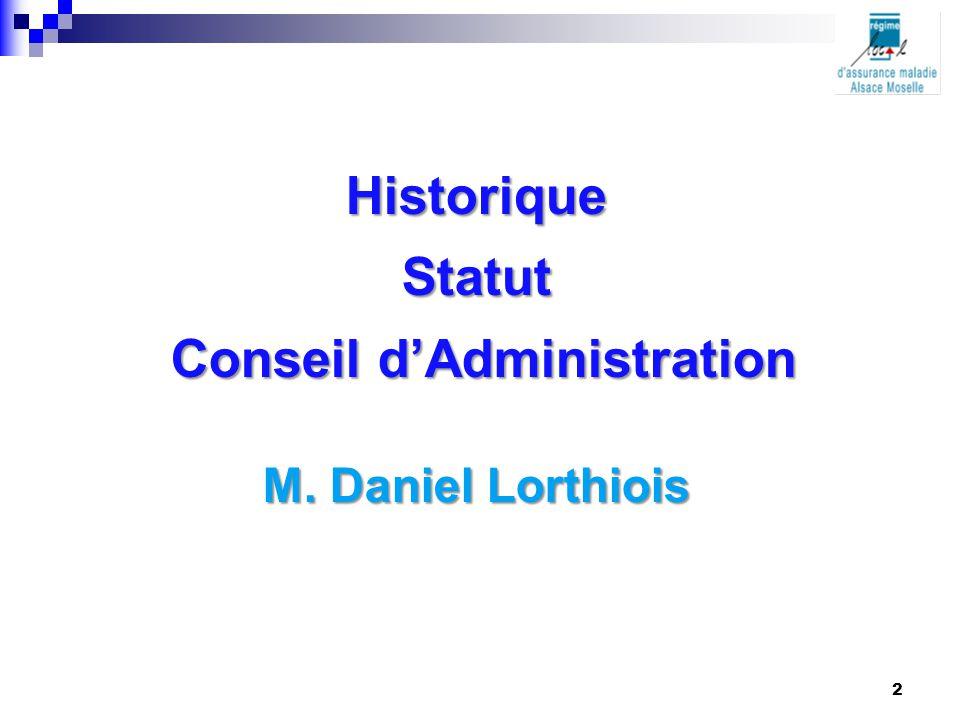 HistoriqueStatut Conseil d'Administration Conseil d'Administration M. Daniel Lorthiois 2