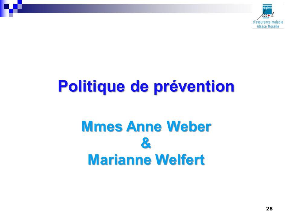 Politique de prévention Mmes Anne Weber & Marianne Welfert 28