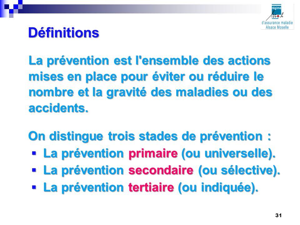 Définitions La prévention est l'ensemble des actions mises en place pour éviter ou réduire le nombre et la gravité des maladies ou des accidents. On d