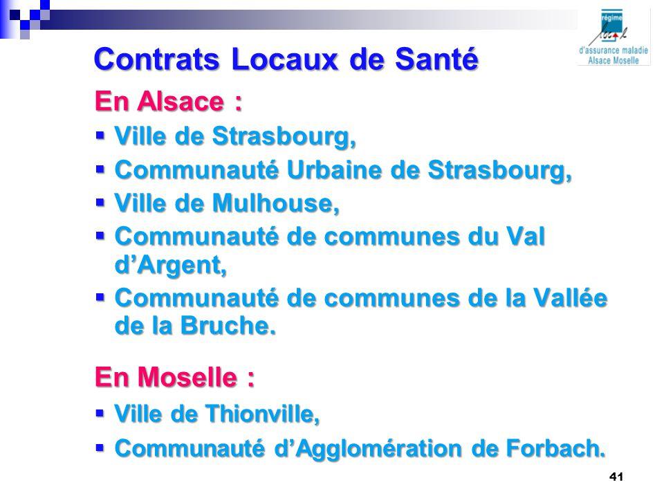 Contrats Locaux de Santé En Alsace :  Ville de Strasbourg,  Communauté Urbaine de Strasbourg,  Ville de Mulhouse,  Communauté de communes du Val d