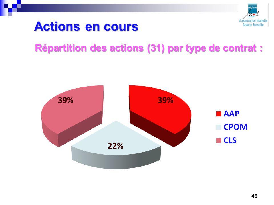 Actions en cours Répartition des actions (31) par type de contrat : 43