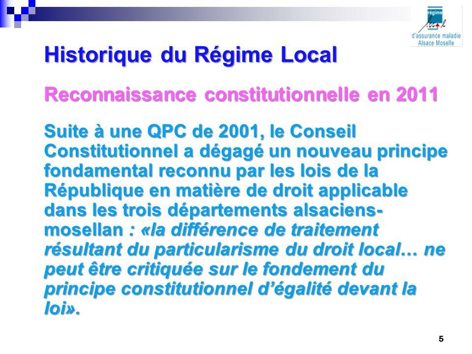 Reconnaissance constitutionnelle en 2011 Suite à une QPC de 2001, le Conseil Constitutionnel a dégagé un nouveau principe fondamental reconnu par les