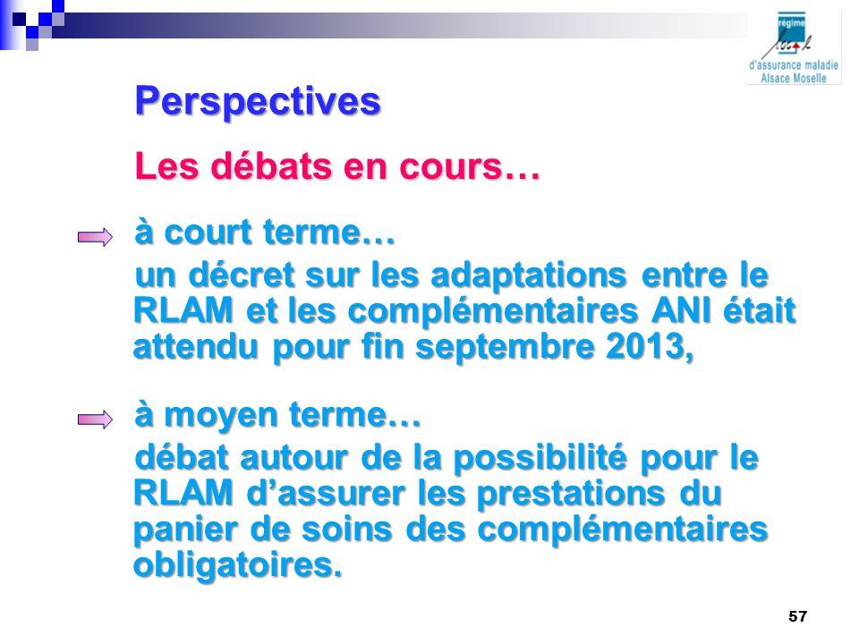 à court terme… un décret sur les adaptations entre le RLAM et les complémentaires ANI était attendu pour fin septembre 2013, à moyen terme… débat auto