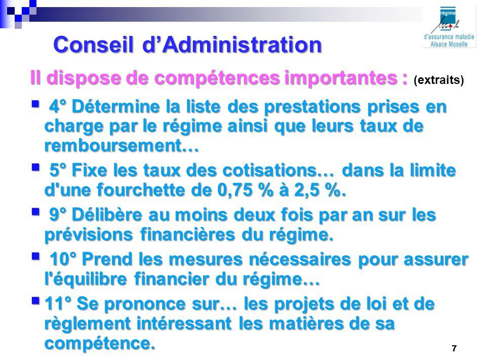 Conseil d'Administration Il dispose de compétences importantes : Il dispose de compétences importantes : (extraits)  4° Détermine la liste des presta