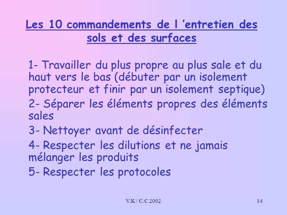 V.K / C.C 200214 Les 10 commandements de l 'entretien des sols et des surfaces 1- Travailler du plus propre au plus sale et du haut vers le bas (débuter par un isolement protecteur et finir par un isolement septique) 2- Séparer les éléments propres des éléments sales 3- Nettoyer avant de désinfecter 4- Respecter les dilutions et ne jamais mélanger les produits 5- Respecter les protocoles
