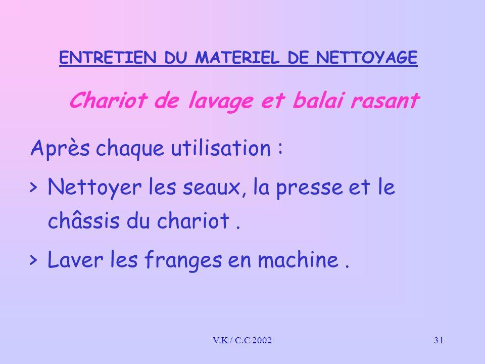 V.K / C.C 200231 ENTRETIEN DU MATERIEL DE NETTOYAGE Chariot de lavage et balai rasant Après chaque utilisation : >Nettoyer les seaux, la presse et le châssis du chariot.