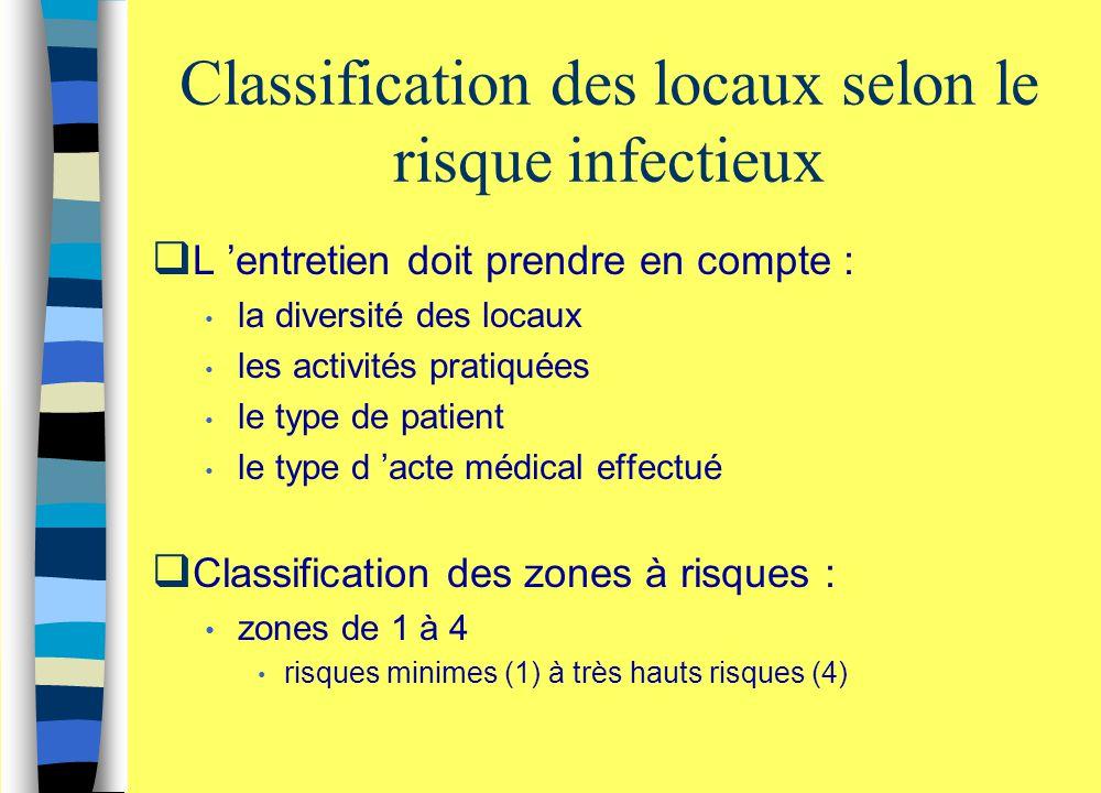Classification des locaux selon le risque infectieux  L 'entretien doit prendre en compte : la diversité des locaux les activités pratiquées le type