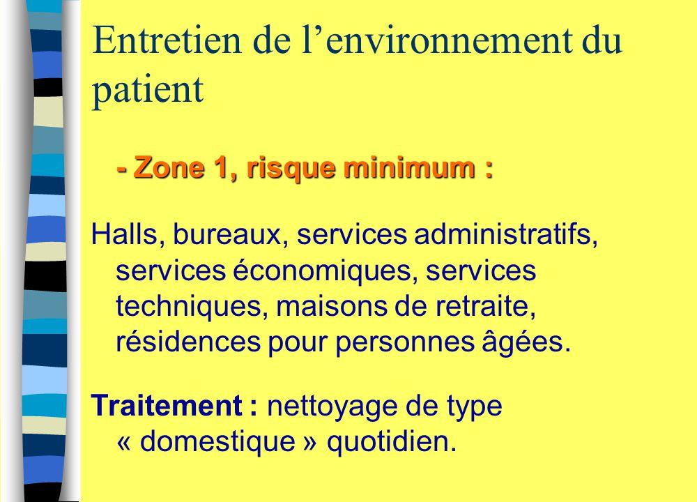 Entretien de l'environnement du patient - Zone 1, risque minimum : Halls, bureaux, services administratifs, services économiques, services techniques,