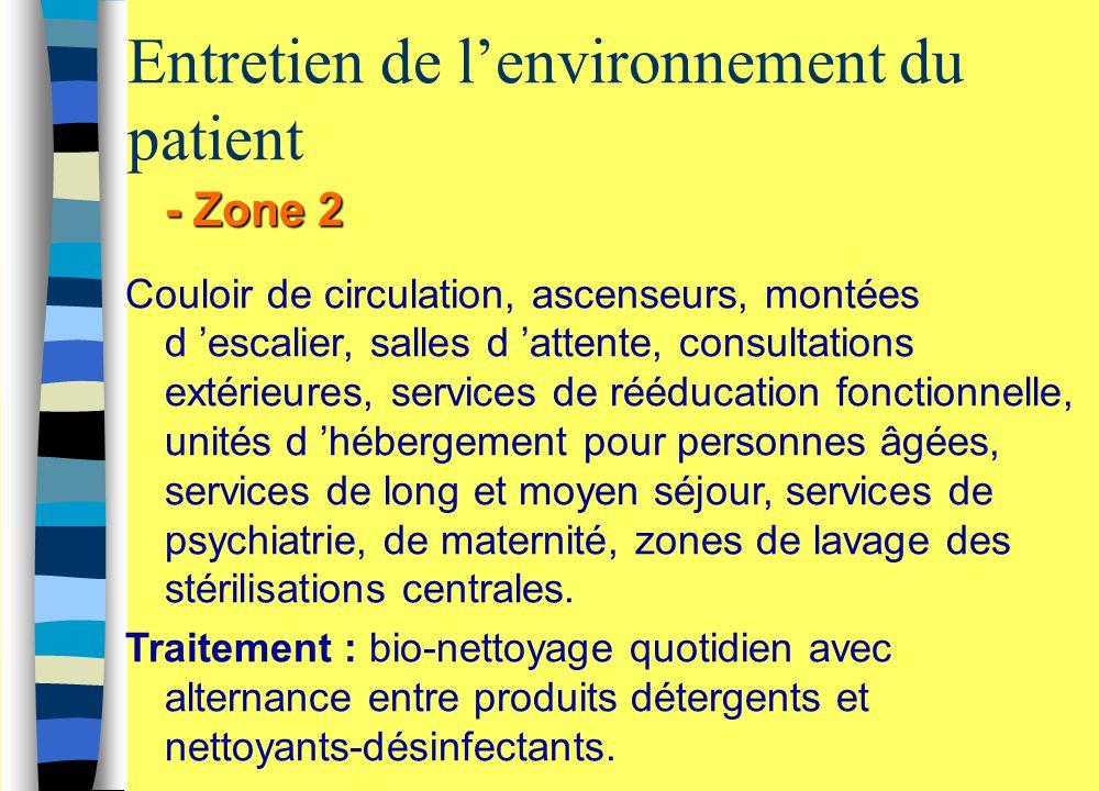 Entretien de l'environnement du patient - Zone 2 Couloir de circulation, ascenseurs, montées d 'escalier, salles d 'attente, consultations extérieures