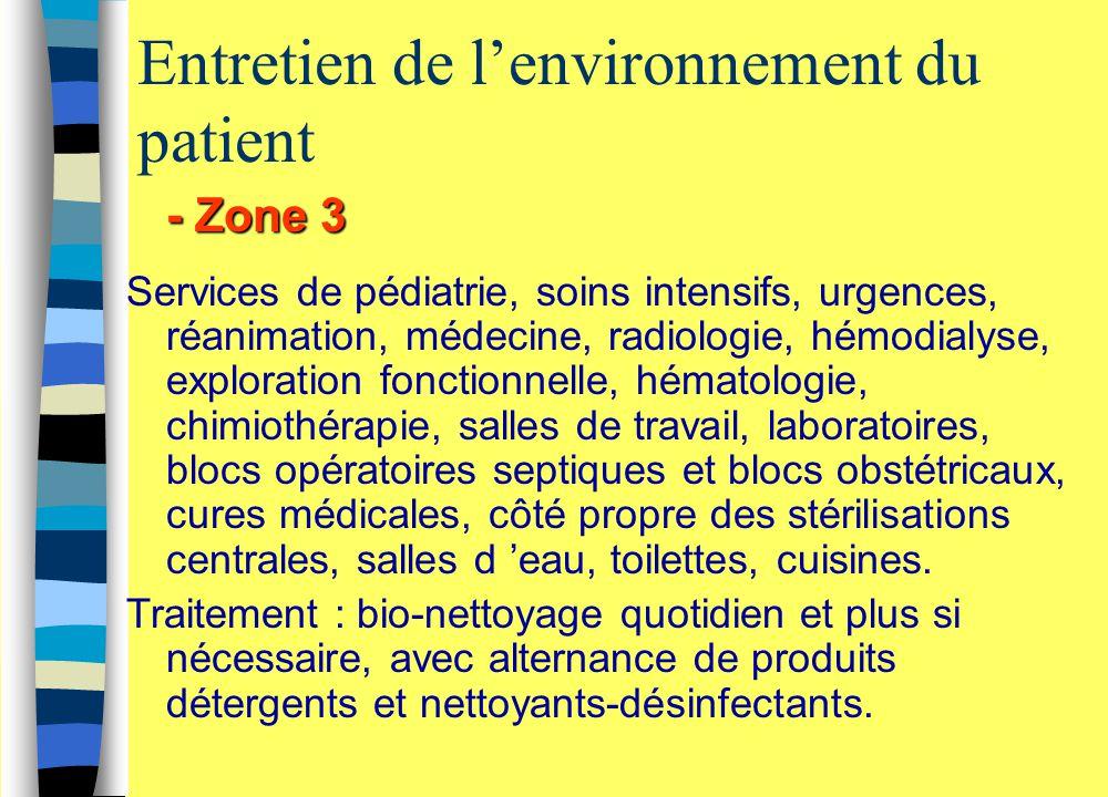 Entretien de l'environnement du patient - Zone 3 Services de pédiatrie, soins intensifs, urgences, réanimation, médecine, radiologie, hémodialyse, exp