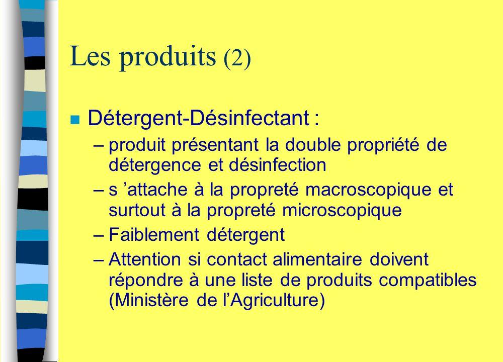 Les produits (2) n Détergent-Désinfectant : –produit présentant la double propriété de détergence et désinfection –s 'attache à la propreté macroscopi