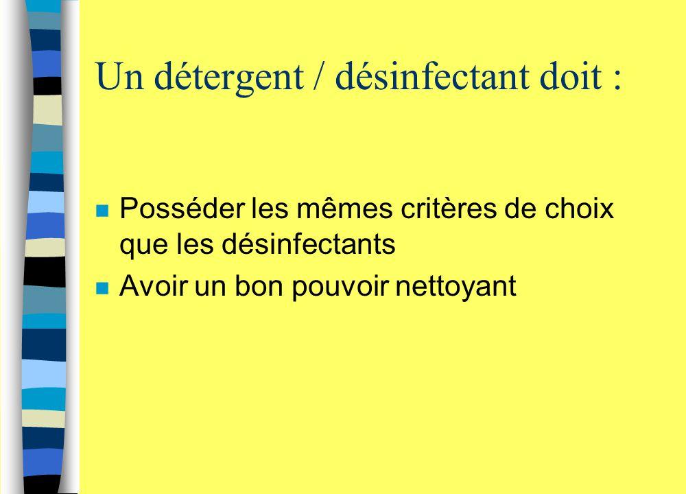 Un détergent / désinfectant doit : n Posséder les mêmes critères de choix que les désinfectants n Avoir un bon pouvoir nettoyant