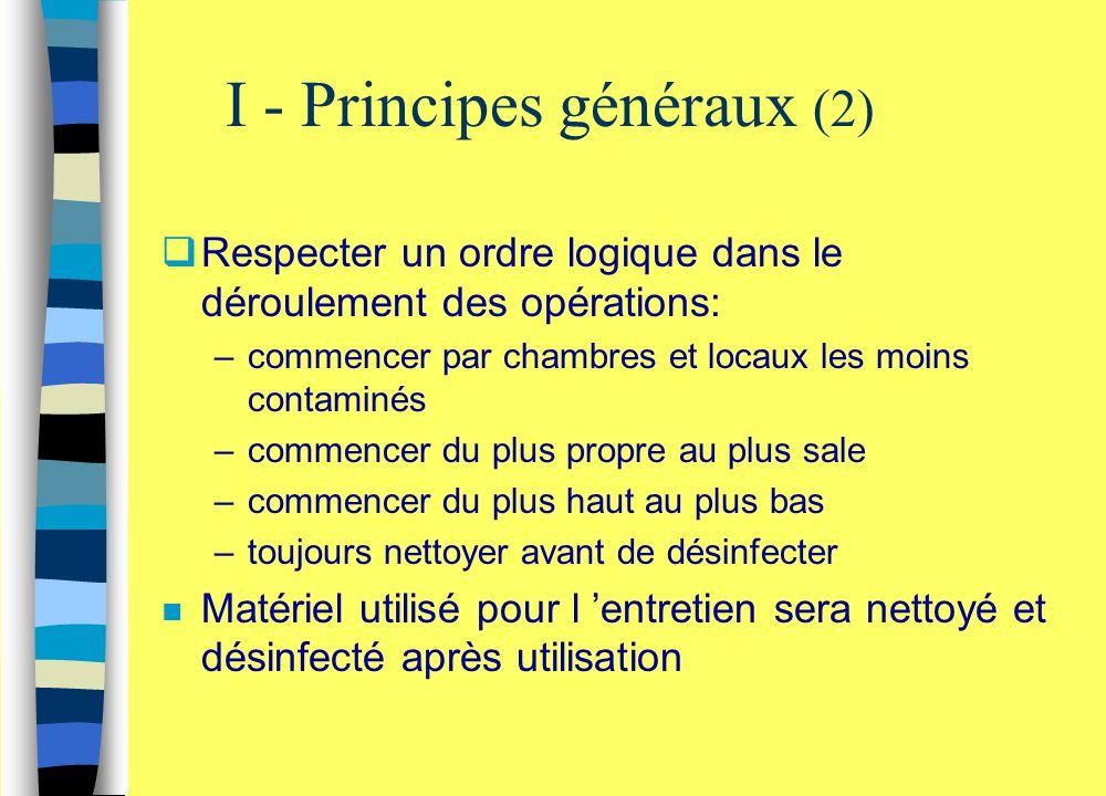 I - Principes généraux (2)  Respecter un ordre logique dans le déroulement des opérations: –commencer par chambres et locaux les moins contaminés –co