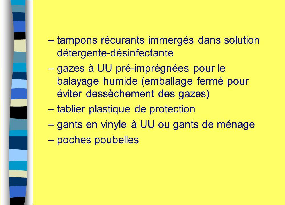 –tampons récurants immergés dans solution détergente-désinfectante –gazes à UU pré-imprégnées pour le balayage humide (emballage fermé pour éviter des