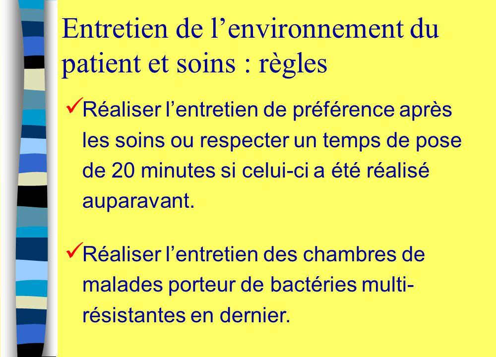 Entretien de l'environnement du patient et soins : règles Réaliser l'entretien de préférence après les soins ou respecter un temps de pose de 20 minut