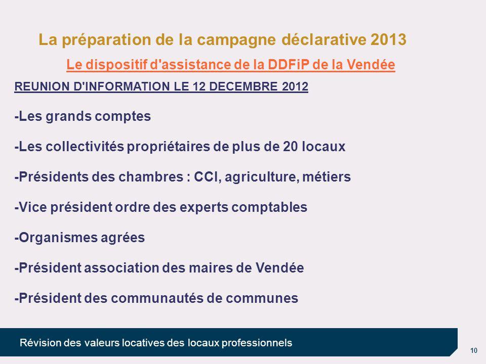10 Révision des valeurs locatives des locaux professionnels La préparation de la campagne déclarative 2013 Le dispositif d'assistance de la DDFiP de l