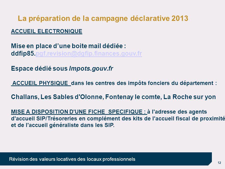 12 Révision des valeurs locatives des locaux professionnels La préparation de la campagne déclarative 2013 ACCUEIL ELECTRONIQUE Mise en place d'une bo