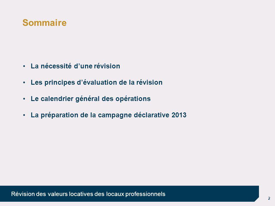 2 Révision des valeurs locatives des locaux professionnels Sommaire La nécessité d'une révision Les principes d'évaluation de la révision Le calendrie