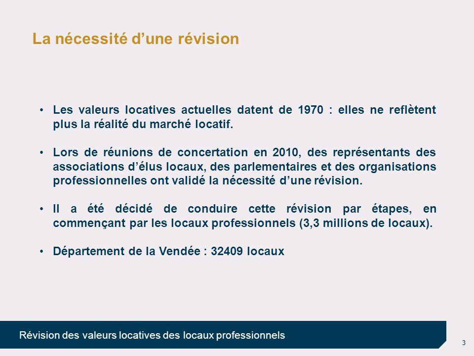 4 Révision des valeurs locatives des locaux professionnels Les principes d'évaluation de la révision Un système d'évaluation simplifié L'article 34 de la loi de finances rectificative pour 2010 (du 29 décembre 2010) décrit l'intégralité du dispositif de révision des valeurs locatives des locaux professionnels.