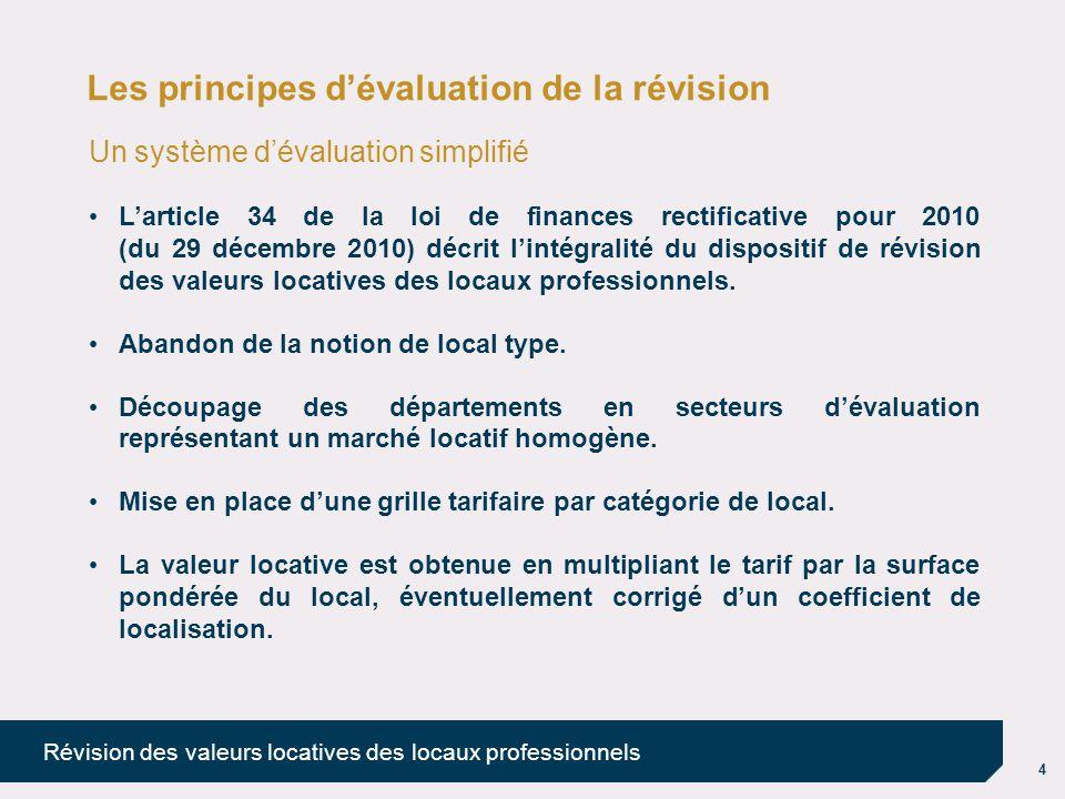 4 Révision des valeurs locatives des locaux professionnels Les principes d'évaluation de la révision Un système d'évaluation simplifié L'article 34 de