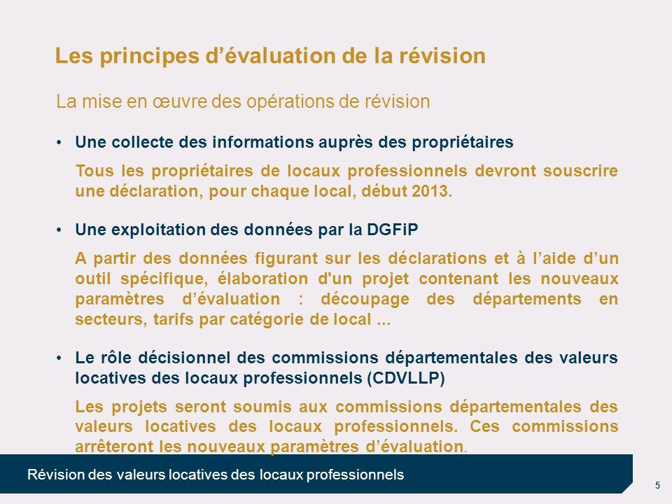 5 Révision des valeurs locatives des locaux professionnels Les principes d'évaluation de la révision La mise en œuvre des opérations de révision Une c