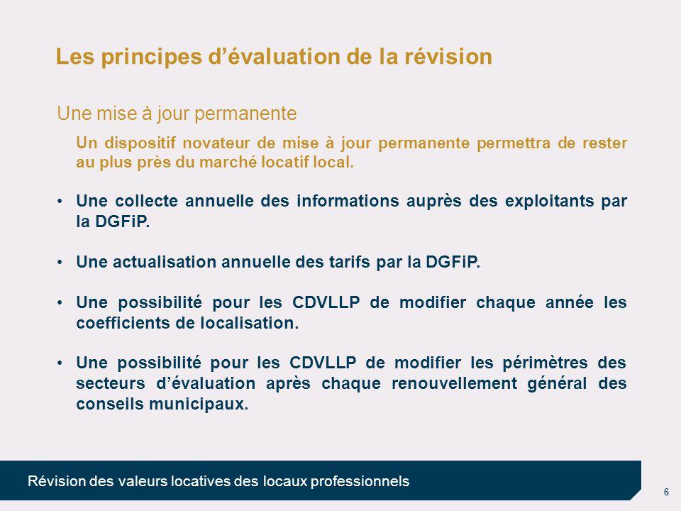 7 Révision des valeurs locatives des locaux professionnels Les principes d'évaluation de la révision L'intégration des résultats de la révision Une réforme à produit constant (en l'absence de modification des taux par les collectivités).