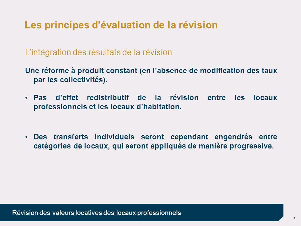 7 Révision des valeurs locatives des locaux professionnels Les principes d'évaluation de la révision L'intégration des résultats de la révision Une ré