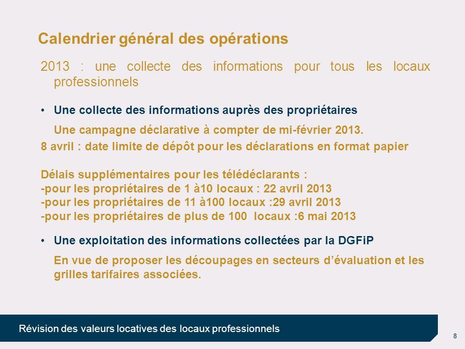 9 Révision des valeurs locatives des locaux professionnels Calendrier général des opérations Fin 2013 : création des commissions départementales (CDVLLP) 2014 : fixation des secteurs et tarifs Travaux des commissions départementales (CDVLLP).