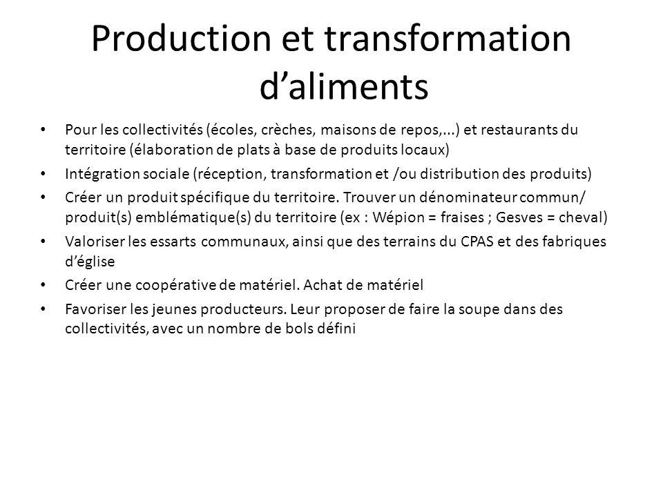 Production et transformation d'aliments Pour les collectivités (écoles, crèches, maisons de repos,...) et restaurants du territoire (élaboration de pl