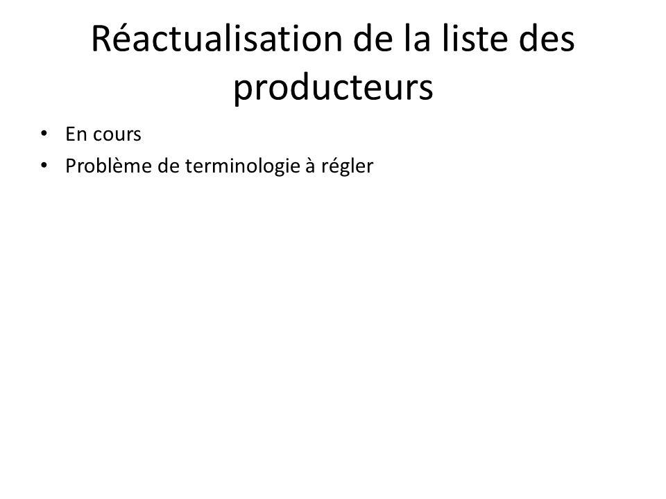Réactualisation de la liste des producteurs En cours Problème de terminologie à régler