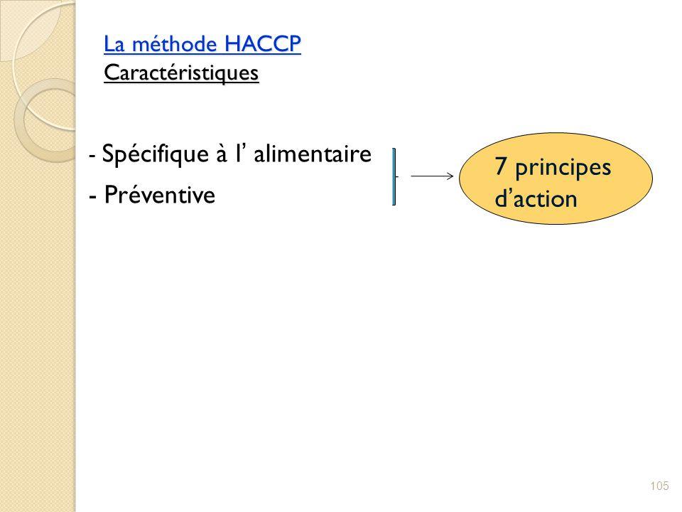 La méthode HACCP Caractéristiques 105 - Spécifique à l' alimentaire - Préventive 7 principes d'action