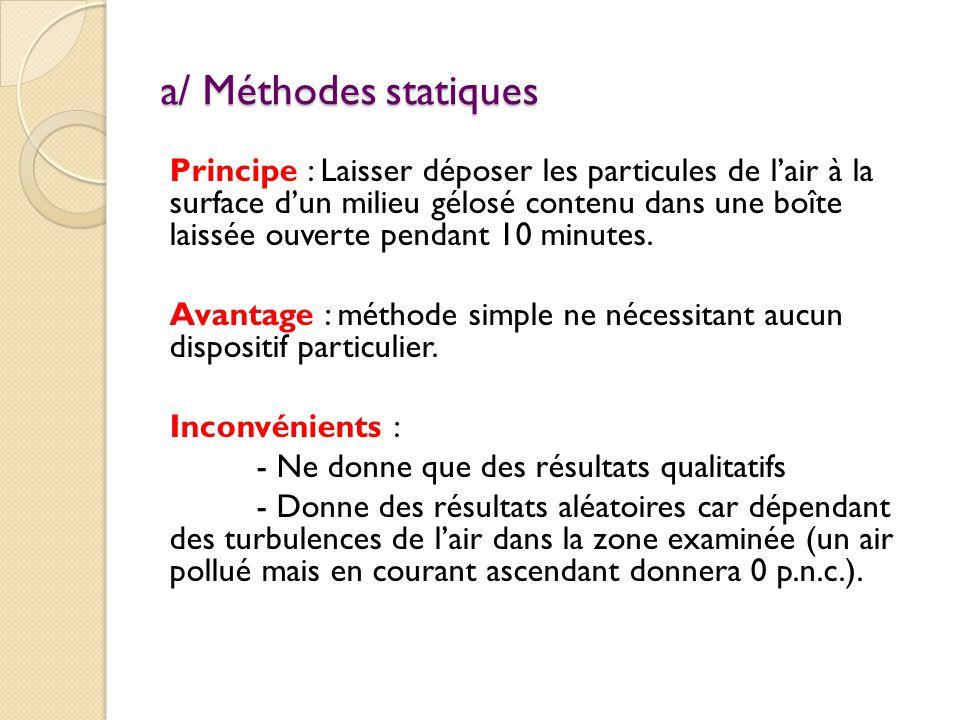 a/ Méthodes statiques Principe : Laisser déposer les particules de l'air à la surface d'un milieu gélosé contenu dans une boîte laissée ouverte pendant 10 minutes.