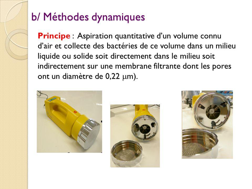 b/ Méthodes dynamiques Principe : Aspiration quantitative d'un volume connu d'air et collecte des bactéries de ce volume dans un milieu liquide ou solide soit directement dans le milieu soit indirectement sur une membrane filtrante dont les pores ont un diamètre de 0,22  m).
