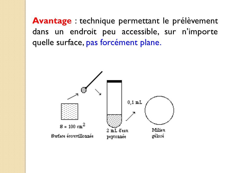 Avantage : technique permettant le prélèvement dans un endroit peu accessible, sur n'importe quelle surface, pas forcément plane.