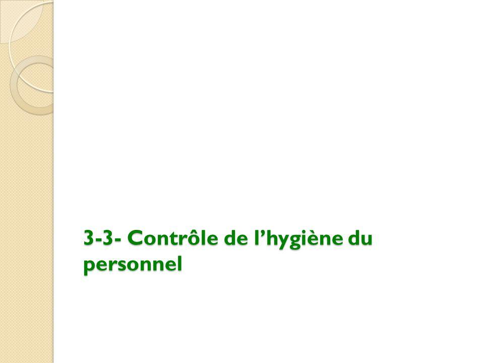 3-3- Contrôle de l'hygiène du personnel
