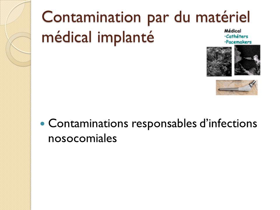 Contamination par du matériel médical implanté Contaminations responsables d'infections nosocomiales