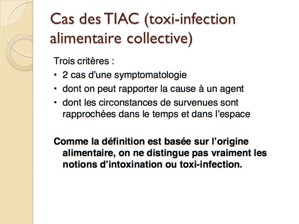 Cas des TIAC (toxi-infection alimentaire collective)