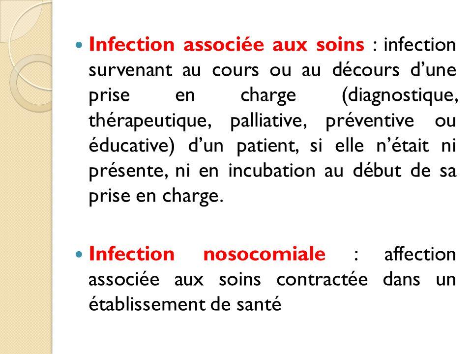 Infection associée aux soins : infection survenant au cours ou au décours d'une prise en charge (diagnostique, thérapeutique, palliative, préventive ou éducative) d'un patient, si elle n'était ni présente, ni en incubation au début de sa prise en charge.
