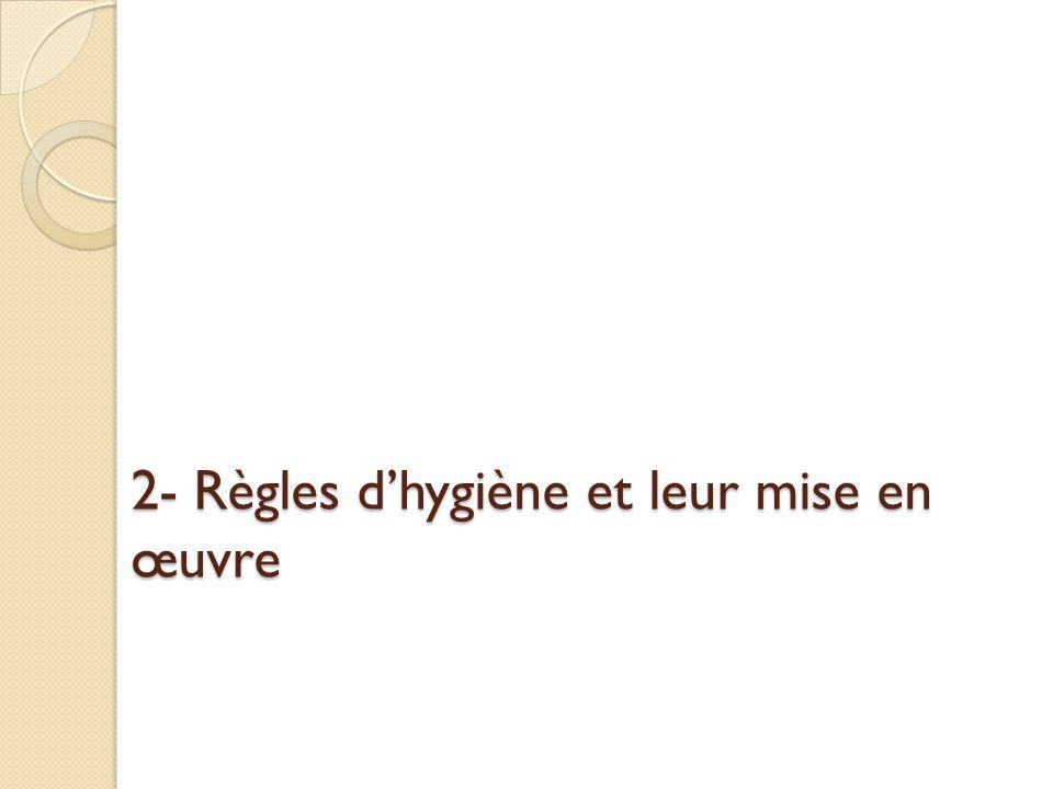 2- Règles d'hygiène et leur mise en œuvre