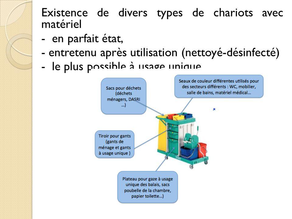 Existence de divers types de chariots avec matériel - en parfait état, - entretenu après utilisation (nettoyé-désinfecté) - le plus possible à usage unique.