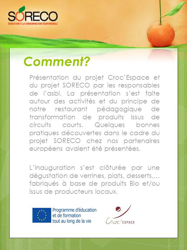 Comment? Présentation du projet Croc'Espace et du projet SORECO par les responsables de l'asbl. La présentation s'est faite autour des activités et du
